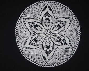 "4208 New Crochet, Handmade White Doily, Centerpiece, 16"""