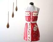 Americana Apron - red, white stripe cream, green floral, bird, wagon wheels adjustable modern hostess apron with ruffle and pocket