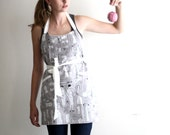 Seamstress Apron - gray, white, black, grey sewing pattern print adjustable craft apron with pin tuck, pockets