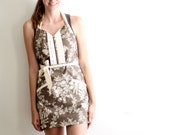 Brown Floral Apron - chocolate and natural flower retro adjustable cotton hostess apron with ruffles, pockets