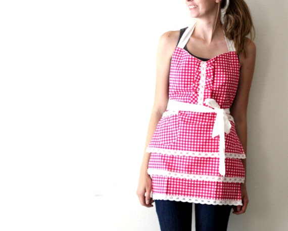 Pink Gingham Apron - hot pink and white southern country adjustable cotton hostess apron with lace, ruffles, tiers, pockets