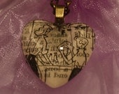 Washing up with Mum - Mother and Son - Heart Shape Pendant