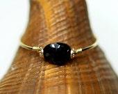 Black onyx  ring14k gold-filled, black onyx simple ring