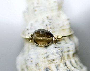 Smoky quartz ring 14K gold filled,
