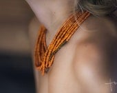 Orange and Brown wood bead Handmade Necklace - Tumach
