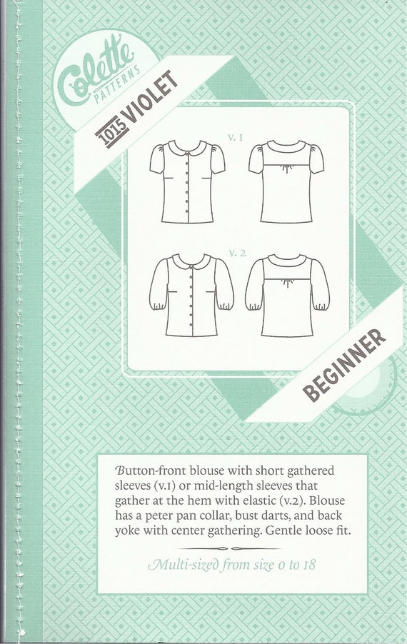 SALE -- Violet top pattern by Colette Patterns sizes 0-18 new included
