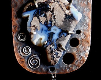 Stone Age Pendant - Sterling, silver, cooper and blue agate. Al-anon Jewelry - Recovery Gift.