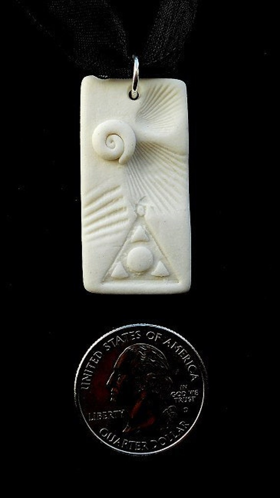 Marina Life Series - Al-Anon symbol Porcelain Pendant with Organza Ribbon.