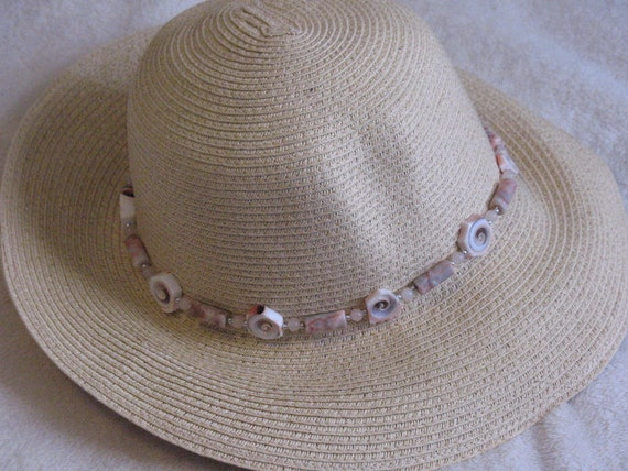 Floppy Straw Hat with Beaded Accent Band