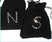 Personalised Black Jewellery Pouch Velvet Jewelry Pouch Wedding Rhinestone diamante gift favour drawstring bag favor