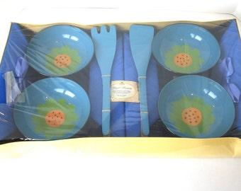 Mid Century Salad Bowl Set - Napkin and Bowl Salad Set - NOS Salad Ensemble - Barth and Dreyfuss Salad Bowl - Retro Salad Set - Picnic Set