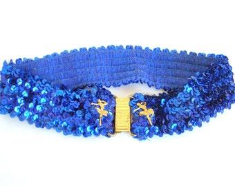 Belt - Vintage Belt - Sequined Belt - Stretch Sequined Belt - Ballerina Belt - Royal Blue - Stretch Belt