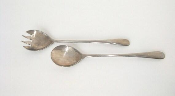 Salad Fork and Spoon - Vintage Salad Server - Italian Made Server - Silver Plated Salad Server - Spoon and Fork Server