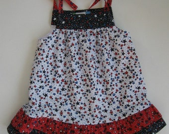 Red, white and blue sundress with stars for toddler girl. Double ruffle at hem. Perfect for summer parties and July 4th.  6 months to 4T.