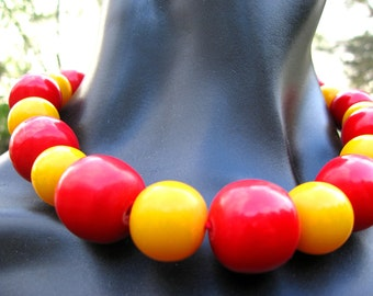 Red and Yellow Beaded Choker and Dangle Earring Set Bold Statement Conversation Piece