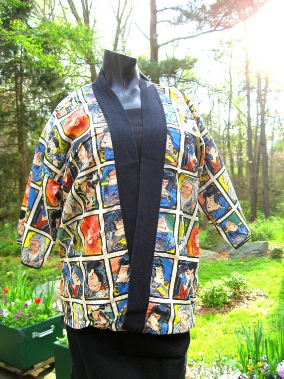 SOLD Kabuki Kimono Samurai Robe Black Short Reversible Vintage