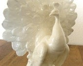 Peacock Vase-White Ceramic-Czechoslovakia