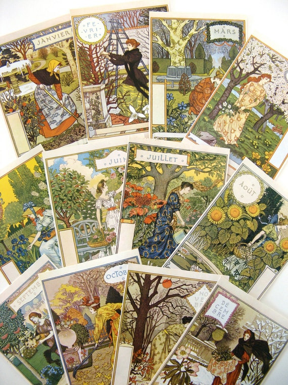Art Nouveau Postcards by Eugene Grasset-Set of 12