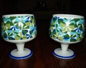 2 Vintage Retro Footed Mugs Royal Crown Arnart Smug Mugs