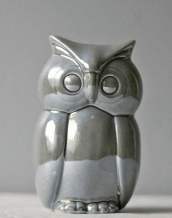 vintage ceramic gray owl
