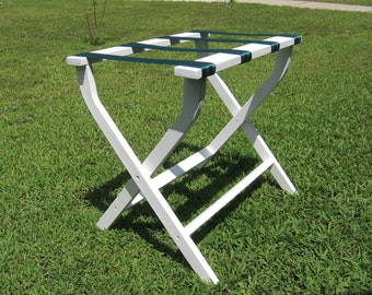 Hand made (USA) folding luggage stand/rack. Beautifully made with pine & sturdy webbing.