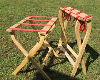 Hand made (USA) luggage stand with sturdy red webbing. Crafted with care & attention to detail.