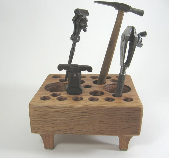 Back to school hand made vintage oak desk caddy for office,  home or studio. Ideal for pens, pencils, small tools or brushes.