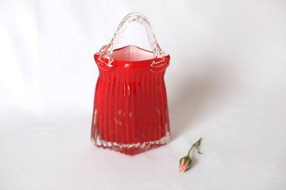 Crimson red handblown glass vase.