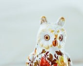 floral owl - vintage ceramic painted owl with flowers