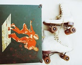 rollin' with the punches - vintage roller skates with wood wheels and metal case - roller derby, chicago, made in usa