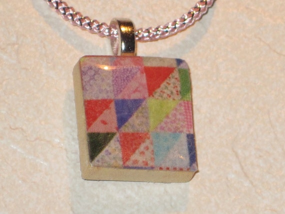 Upcycled Quilt Design Scrabble Tile Necklace Recycled