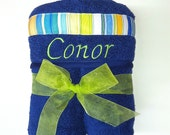 Large Kids Hooded Towel for Boy, Baby, Toddler, Children in Navy with Multi Color Stripe Ribbon and FREE Personalization
