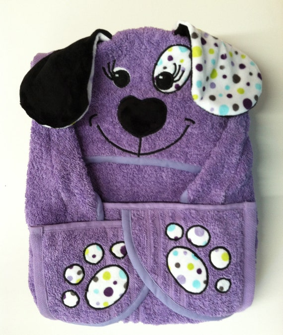 Girls Large Hooded Puppy Towel For Baby Toddler Child Kids