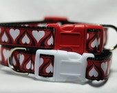 Red Heart Dog Collar 3/4 Inch