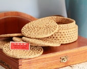 6 Vintage Woven Reed Coasters with Holder - Made in China
