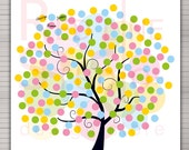 PRINTABLE Wedding Alternative Guest Book. Spring - Summer tree 160 signatures (27x27 inches).