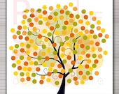 PRINTABLE Wedding Alternative Guest Book. Fall tree 160 signatures.