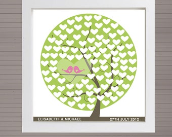 DIY printable wedding alternative guest book 100 signatures. Green tree with pink birds and hearts. No frame.