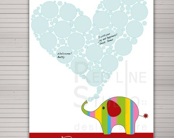 Baby Shower guest book alternative. Cute elephant 20 signatures and wishes printable. Housewarming Gift, Nursery Wall Art.