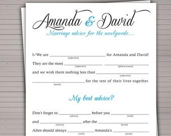 Printable Wedding Mad Lib. Guest Book alternative. DIY