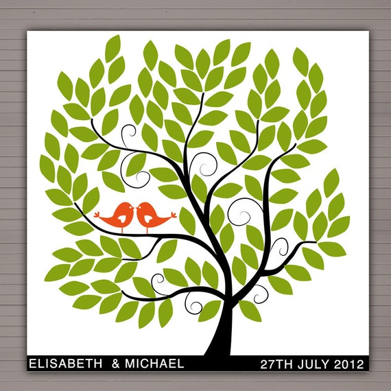 DIY printable wedding alternative guest book 100 signatures. 60x60 tree with green leaves and orange birds.