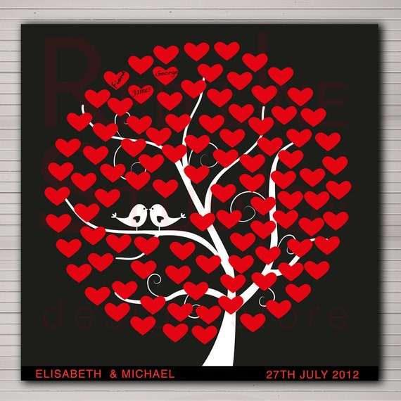 DIY PRINTABLE wedding alternative guest book 100 hearts. Tree with birds and hearts.