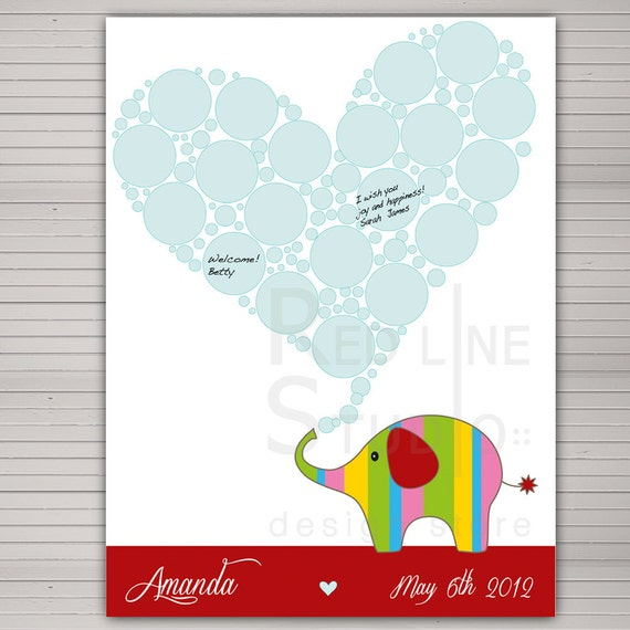 baby shower guest book alternative cute elephant 20 signatures and
