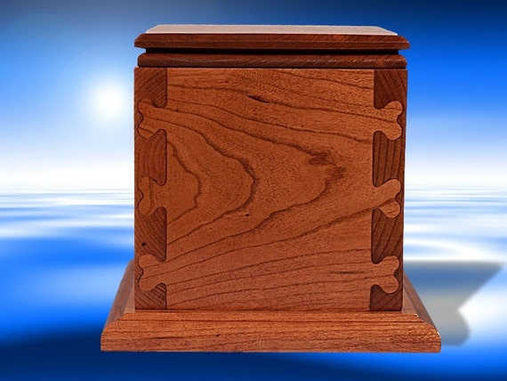 Soild Cherry Wood 75 lb Pet Cremation Urn Heart Jointery