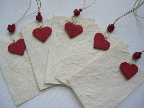 Special  gift tags made with handmade paper (set of 5)