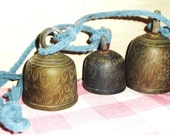Vintage Etched Tibetan Brass Bells - Rustic - Wind Chimes - Home Decor