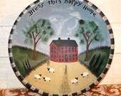 Vintage Folk Art Hand Painted Wooden Bowl - Primitive - Rustic - Americana - Country Decor - Bless this Happy Home