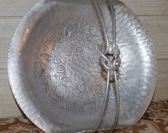 World Hand Forged Hammered Aluminum Basket - Home Decor - Shabby Chic - Housewares - Mid Century - Urban Decor - Serving Tray
