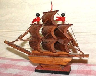 Hand Made Wooden Ship - Collectibles - Home Decor - Nautical - Beach Cottage Decor - Rustic
