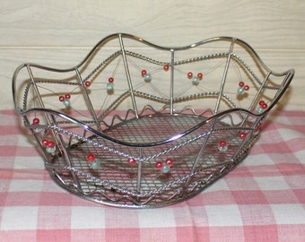 Wire Basket - Boho - Beads - Home Decor - Housewares - Tray - Shabby Chic - Bohemian